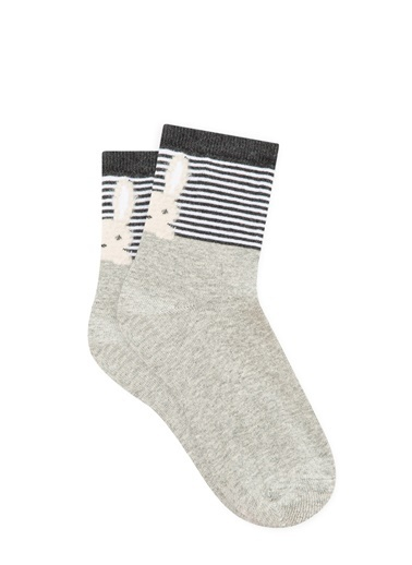 Mavi  Soket Çorap Gri